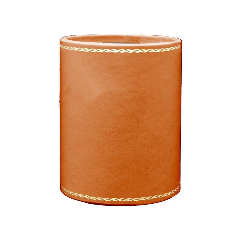 Portapenne in pelle Zucca - Conti Borbone - porta penne in pelle di vitello arancione - decorazione 90