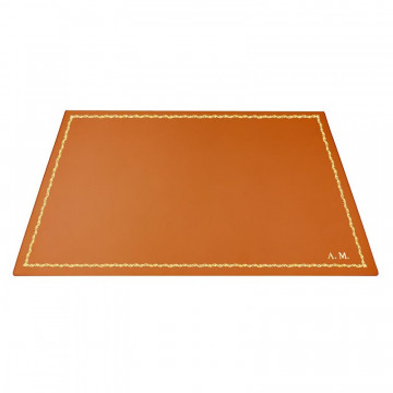 Pumpkin leather desk pad, orange calf leather - Conti Borbone - Customizable mat - decoration 90 - block letters