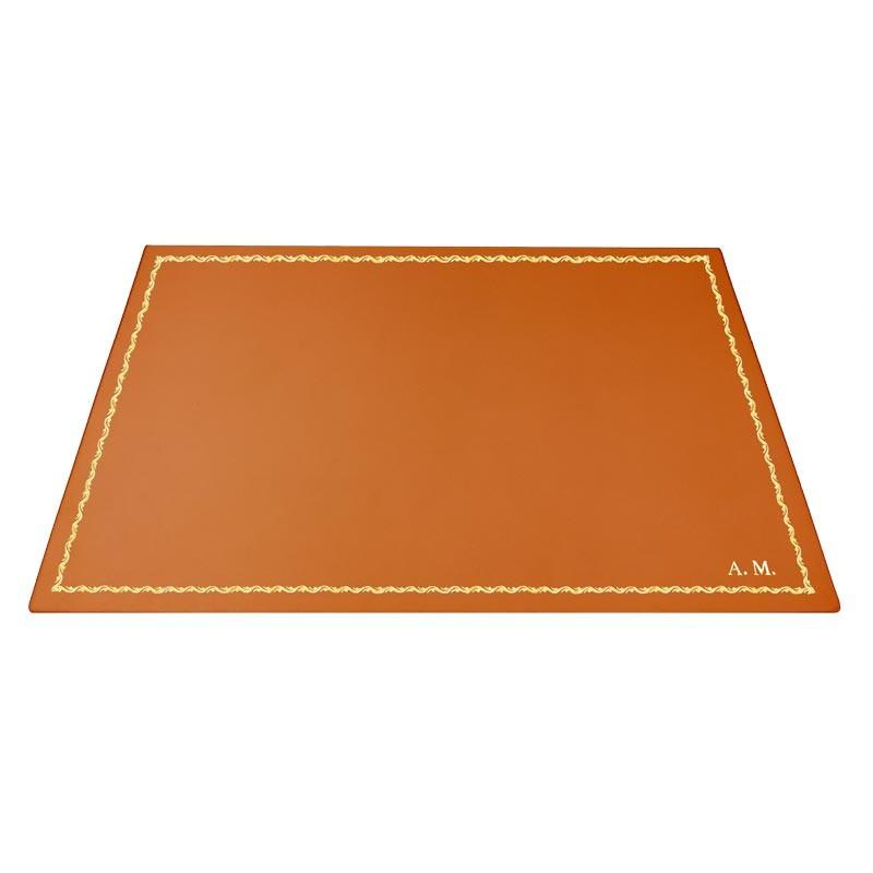Pumpkin leather desk pad, orange calf leather - Conti Borbone - Customizable mat - decoration 90 - block letters