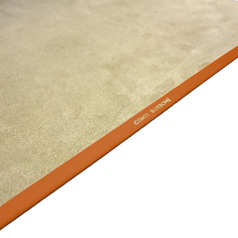 Pumpkin leather desk pad, orange calf leather - Conti Borbone - Customizable mat - decoration 150 - brand