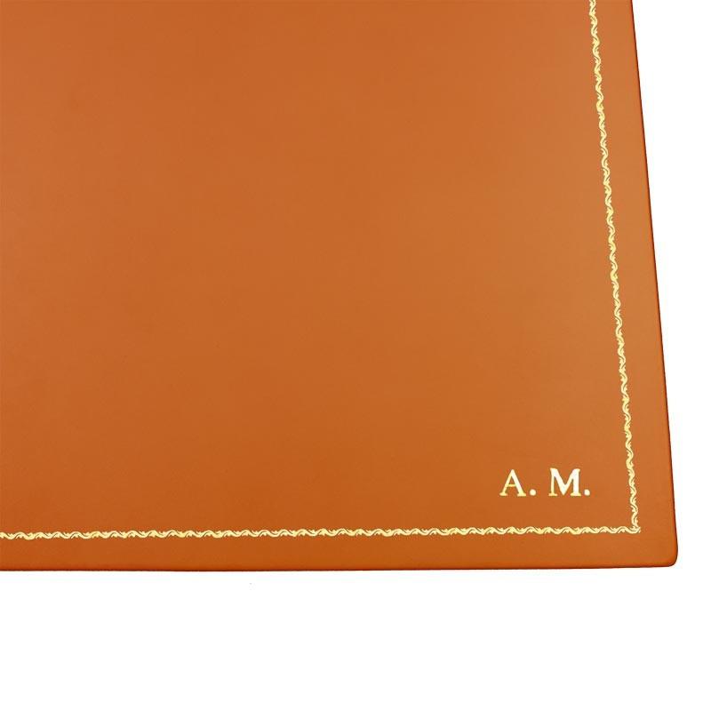 Sottomano pelle Zucca, pelle di vitello arancione - Conti Borbone - Tappetino personalizzabile - decorazione 90 - stampatello