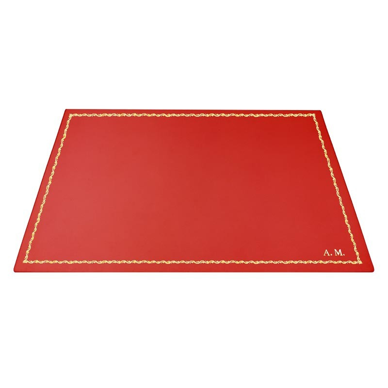 Coral leather desk pad, pink calf leather - Conti Borbone - Customizable mat - decoration 90 - block letters