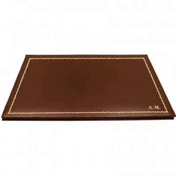 Cuoio leather desk pad, brown calf leather - Conti Borbone - customizable opening pad - decoration 90 - block letters