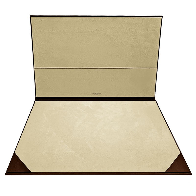 Cuoio leather desk pad, brown calf leather - Conti Borbone - customizable opening pad - decoration 150 - brand