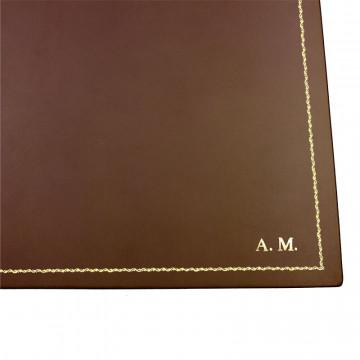 Sottomano doppio pelle Cuoio, pelle di vitello marrone - Conti Borbone - sottomano apribile - decorazione 90 - stampatello