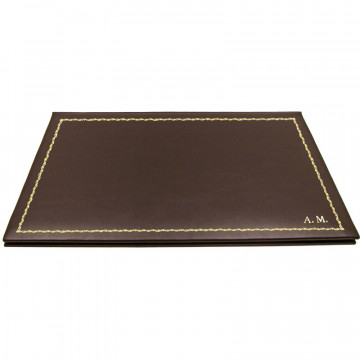 Chocolate leather desk pad, brown calf leather - Conti Borbone - customizable opening pad - decoration 90 - block letters