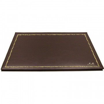 Chocolate leather desk pad, brown calf leather - Conti Borbone - customizable opening pad - decoration 150 - italic