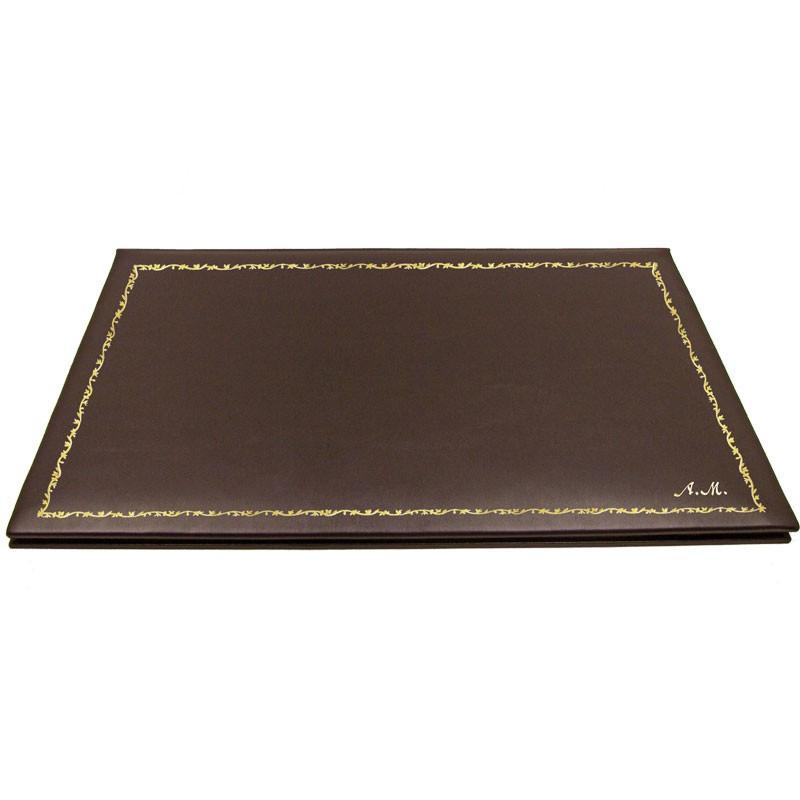 Sottomano doppio pelle Cioccolato, pelle di vitello marrone - Conti Borbone - decorazione 150 - corsivo