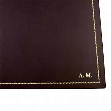 Sottomano doppio pelle Cioccolato, pelle di vitello marrone - Conti Borbone - decorazione 90 - stampatello
