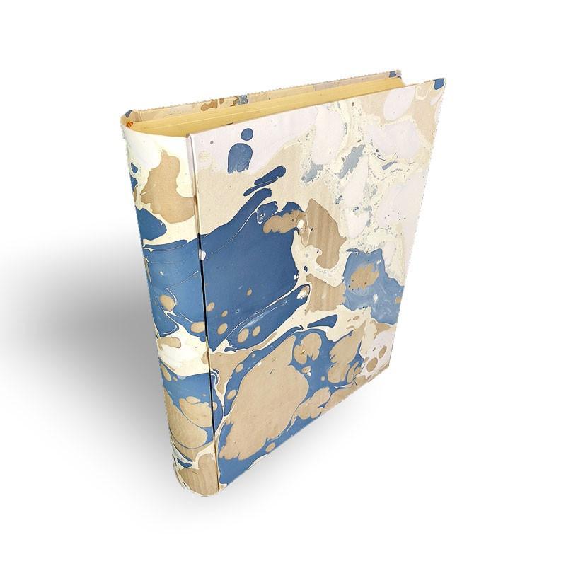 Album foto in carta marmorizzata marrone azzurro bianco Sonia - Conti Borbone - dorso standard
