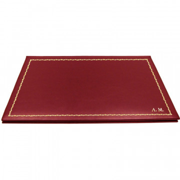Ruby leather desk pad, burgundy calf leather - Conti Borbone - customizable opening pad - decoration 90 - block letters
