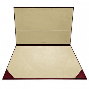 Ruby leather desk pad, burgundy calf leather - Conti Borbone - customizable opening pad - brand