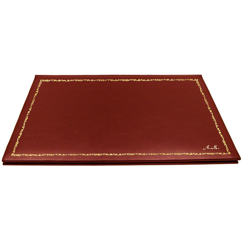 Strawberry leather desk pad, red calf leather - Conti Borbone - customizable opening pad - decoration 150 - italic
