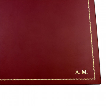 Strawberry leather desk pad, red calf leather - Conti Borbone - customizable opening pad - decoration 90 - block letters