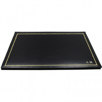 Dark leather desk pad, black calf leather - Conti Borbone - customizable opening pad - decoration 90 - block letters