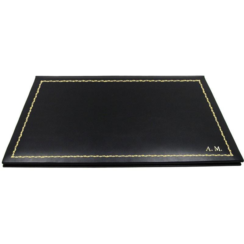 Sottomano doppio pelle Dark, pelle di vitello nero - Conti Borbone - sottomano personalizzabile - decorazione 90 - stampatello