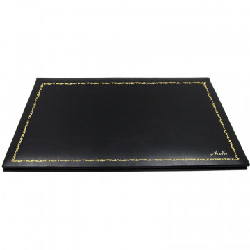 Dark leather desk pad, black calf leather - Conti Borbone - customizable opening pad - decoration 150 - italic