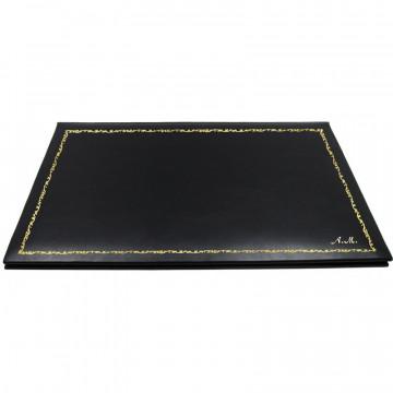 Sottomano doppio pelle Dark, pelle di vitello nero - Conti Borbone - sottomano personalizzabile - decorazione 150 - corsivo
