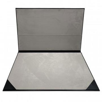 Dark leather desk pad, black calf leather - Conti Borbone - customizable opening pad - decoration 150 - brand