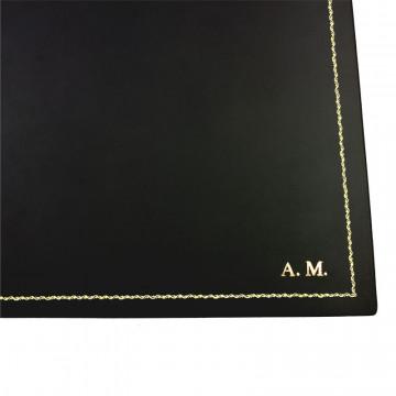 ottomano doppio pelle Dark, pelle di vitello nero - Conti Borbone - sottomano personalizzabile - decorazione 90 - stampatello