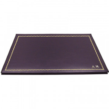 Aubergine leather desk pad, violet calf leather - Conti Borbone - customizable opening pad - decoration 90 - block letters