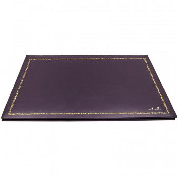 Sottomano doppio pelle Melanzana, pelle di vitello viola - Conti Borbone - personalizzato - decorazione 150 - corsivo