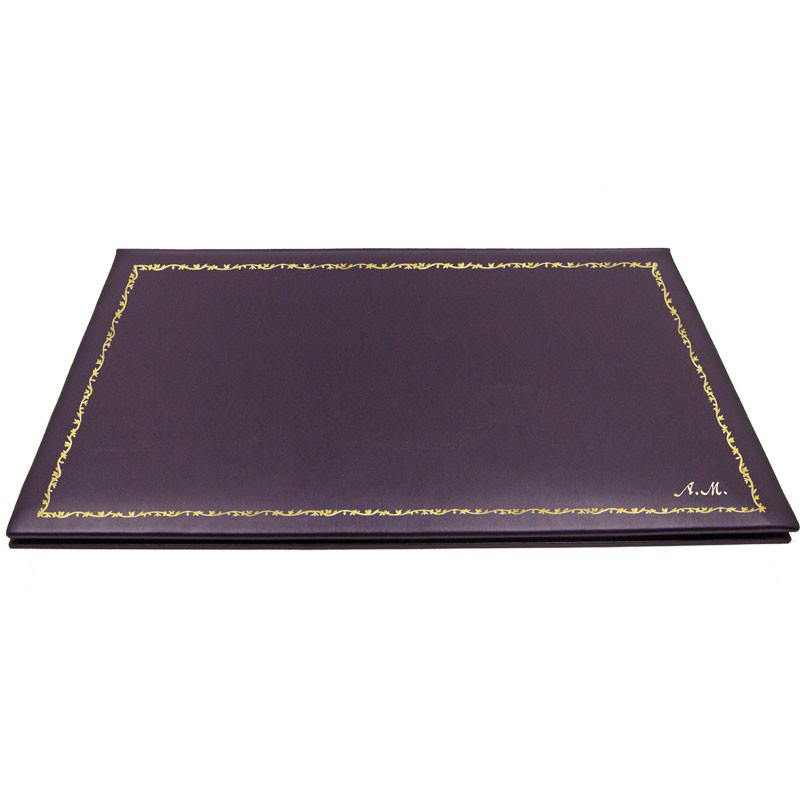 Aubergine leather desk pad, violet calf leather - Conti Borbone - customizable opening pad - decoration 150 - italic