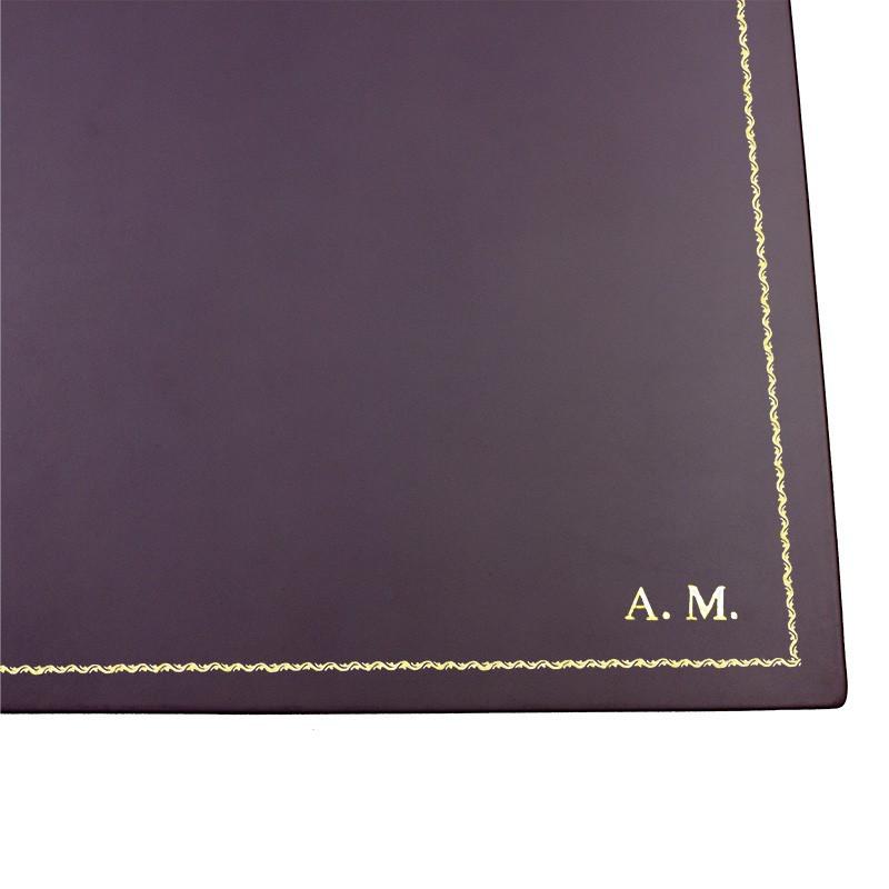 Sottomano doppio pelle Melanzana, pelle di vitello viola - Conti Borbone - personalizzato - decorazione 90 - stampatello