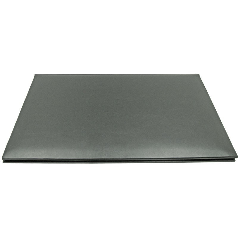 Graphite leather desk pad, gray calf leather - Conti Borbone - customizable opening pad