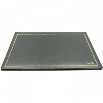 Graphite leather desk pad, gray calf leather - Conti Borbone - customizable opening pad - decoration 90 - block letters