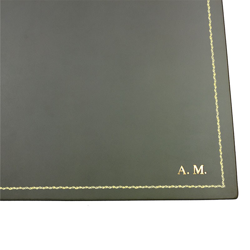 Graphite leather desk pad, gray calf leather - Conti Borbone - customizable opening pad - decoration 90 - block letters
