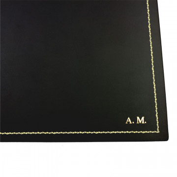 Anthracite leather desk pad, gray calf leather - Conti Borbone - customizable opening pad - decoration 90 - block letters