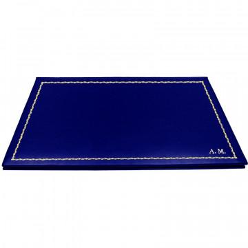 Sottomano doppio pelle Bluette, pelle di vitello blu - Conti Borbone - personalizzato - decorazione 90 - stampatello