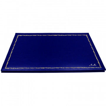 Bluette leather desk pad, blue calf leather - Conti Borbone - customizable opening pad - decoration 150 - italic