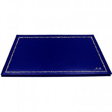 Sottomano doppio pelle Bluette, pelle di vitello blu - Conti Borbone - personalizzato - decorazione 150 - corsivo