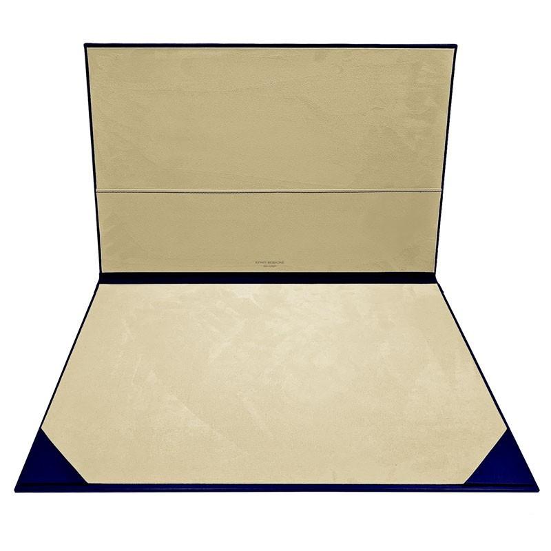 Bluette leather desk pad, blue calf leather - Conti Borbone - customizable opening pad - brand