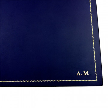Bluette leather desk pad, blue calf leather - Conti Borbone - customizable opening pad - decoration 90 - block letters