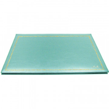 Turquoise leather desk pad, blue calf leather - Conti Borbone - customizable opening pad - decoration 150 - italic