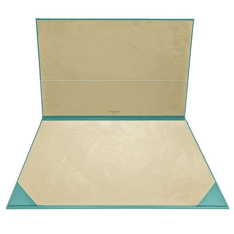 Turquoise leather desk pad, blue calf leather - Conti Borbone - customizable opening pad - brand
