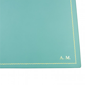 Turquoise leather desk pad, blue calf leather - Conti Borbone - customizable opening pad - decoration 90 - block letters