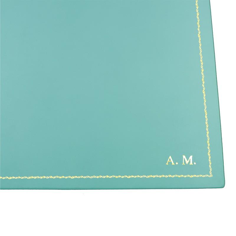 Sottomano doppio pelle Turchese, pelle di vitello azzurro - Conti Borbone - personalizzato - decorazione 90 - stampatello