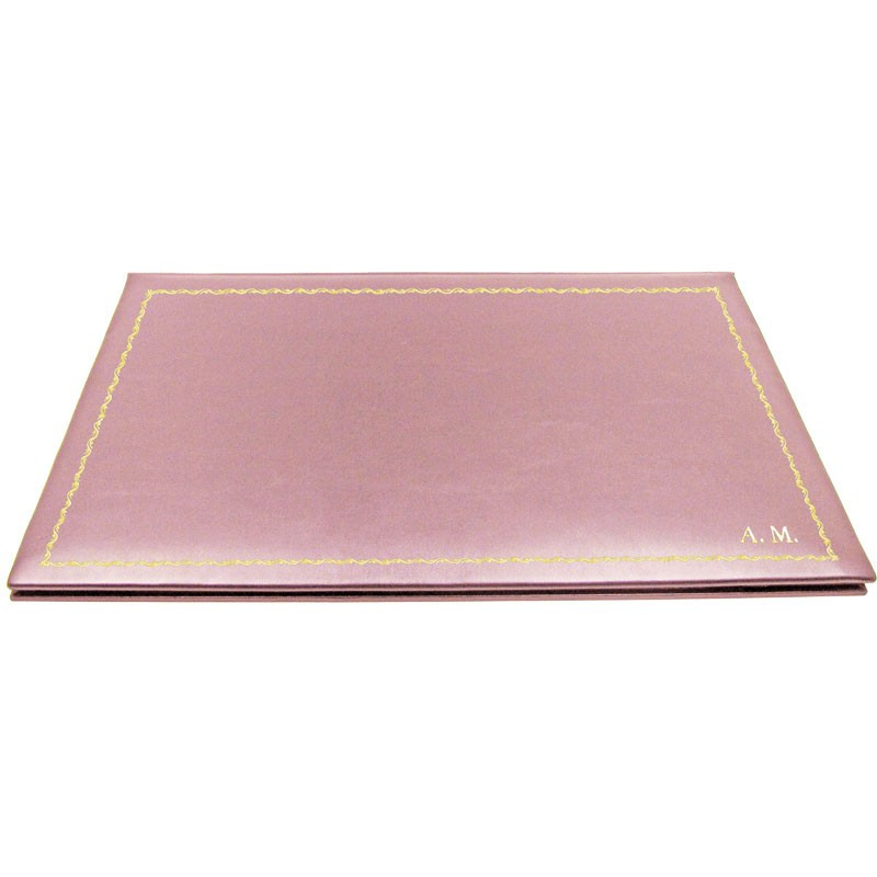 Camelia leather desk pad, pink calf leather - Conti Borbone - customizable opening pad - decoration 90 - block letters