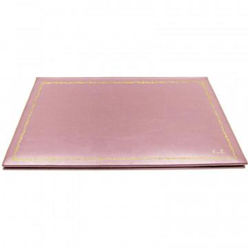 Sottomano doppio pelle Camelia, pelle di vitello rosa - Conti Borbone - personalizzato - decorazione 150 - corsivo