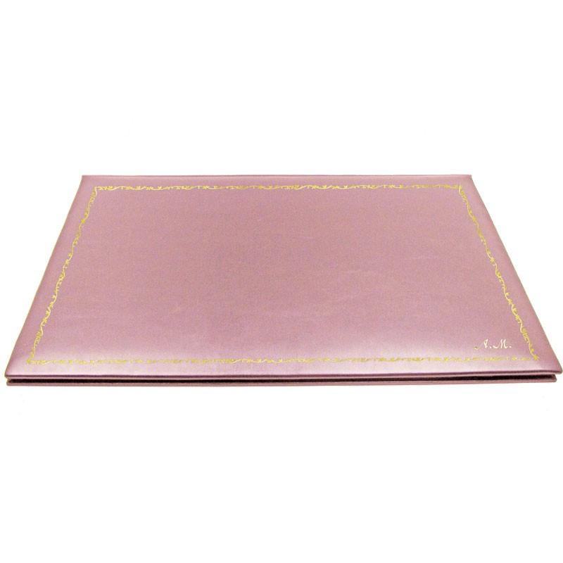 Camelia leather desk pad, pink calf leather - Conti Borbone - customizable opening pad - decoration 150 - italic
