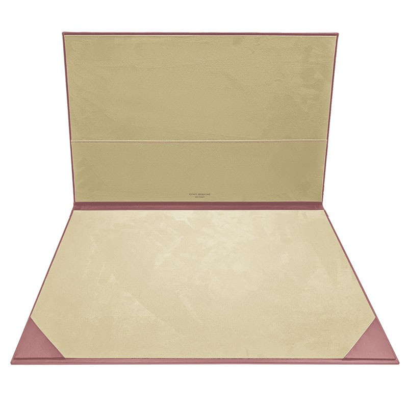 Camelia leather desk pad, pink calf leather - Conti Borbone - customizable opening pad - brand