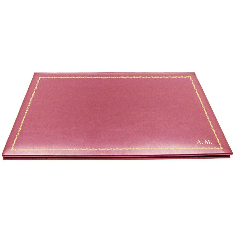 Sottomano doppio pelle Fucsia, pelle di vitello rosa - Conti Borbone - personalizzato - decorazione 90 - stampatello
