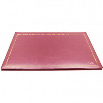 Sottomano doppio pelle Fucsia, pelle di vitello rosa - Conti Borbone - personalizzato - decorazione 150 - corsivo