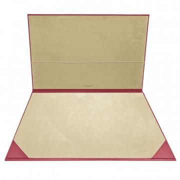 Fuchsia leather desk pad, pink calf leather - Conti Borbone - customizable opening pad - brand