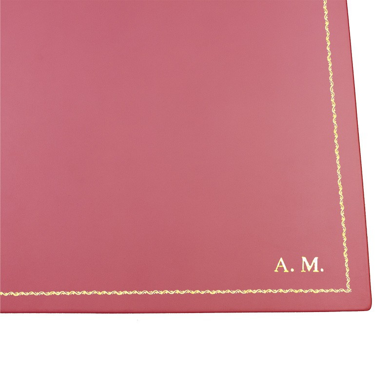 Fuchsia leather desk pad, pink calf leather - Conti Borbone - customizable opening pad - decoration 90 - block letters