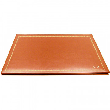 Pumpkin leather desk pad, orange calf leather - Conti Borbone - customizable opening pad - decoration 90 - block letters